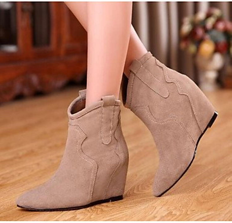 RTRY Zapatos De Mujer Cuero De Nubuck Pu Moda Otoño Invierno Botas Botas Talón Plano Botines/Botines De Almendra...