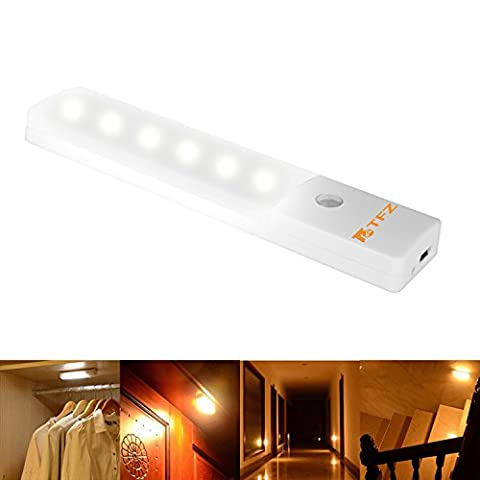 LED Motion Sensor Veilleuses, TFZ Wall penderie Light LED Nuit Bâton Partout USB Rechargeable Wireless Lumière Motion Sensor Lampe de Aimant pour Escaliers / Cabinet / tiroir / Abris /Kitchen Salle de stockage