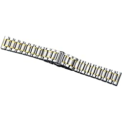 15mm Ladies' Luxurious Small Narrow Two Tone Silver and Gold Stainless Steel Watch Straps Belts Straight End