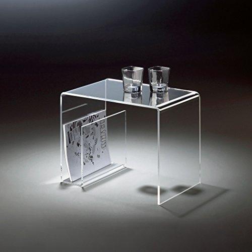 HOWE-Deko Hochwertiger Acryl-Glas Beistelltisch mit Zeitungsfach, klar, 48 x 32 cm, H 38 cmAcryl-Glas-Stärke 8 mm (Acryl-nachttisch)