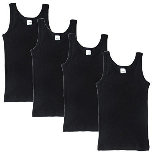 HERMKO 2800 4er Pack Jungen Unterhemd (Weitere Farben), Farbe:schwarz, Größe:128