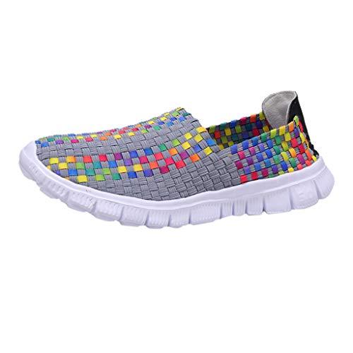 YEARNLY Paar Modelle Handgewebte Schuhe Atmungsaktiv Casual Schuhe Elastischer Gürtel Faule Schuhe Grau, Schwarz, Tarnung, Mehrfarben 35-44 - Mini Womens Heels