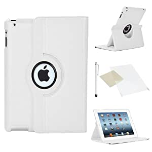 Stuff4 Leather Smart Case with 360 Degree Rotating Swivel Action and Free Screen Protector/Stylus Touch Pen for Apple iPad Mini/Mini Retina - White