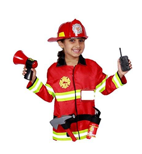 feuerwehrmann kostuem kinder Matissa Kinder Feuerwehrmann Rollenspiel Kostüm und Zubehör Feuerwehr Feuerwehrchef (Groß (5-8 Jahre), Vollständiger Satz)