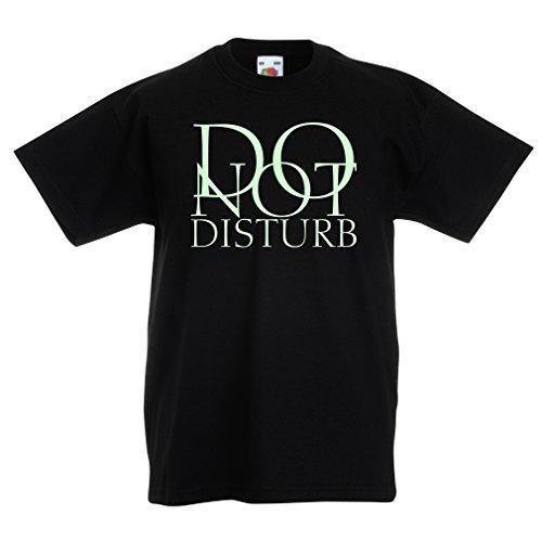 lepni.me Kinder T-Shirt Nicht stören - lustige Zitate - Geschenk (3-4 years Schwarz Fluoreszierend)