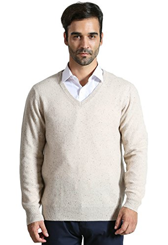 DYS CASHMERE Herren Pullover, 100% Kaschmir, langärmelig, V-Ausschnitt - Mehrfarbig - Groß - 100% Mongolische Cashmere