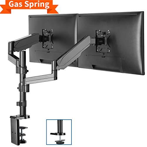 """PUTORSEN® Monitor Halterung 2 Monitore, Monitor Tischhalterung Gasdruckfeder - Schwenkbare Neigbare Monitorhalterung für zwei 17""""-32"""" LED LCD Bildschirme - VESA 75x75 100x100mm, 8kg/Arm"""