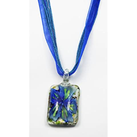 M42 [], colore: blu/verde, a forma di fiore, con pendente rettangolare in cristallo, colore: blu con cordoncino e Voil (48 cm), in confezione regalo, è un ottimo regalo - Rettangolare Pendente A Forma