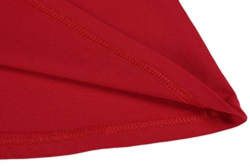 ZEARO Langarmkleid Damen Etuikleid Basic Kleid T-Shirt-Kleid Rot