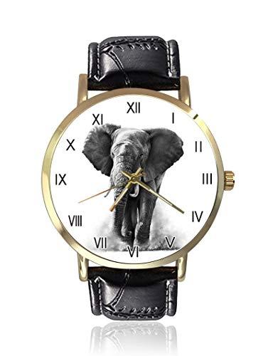 Mandala Elefant Damenuhr, modisch, Unisex, Leder, Casual Quarz-Armbanduhr