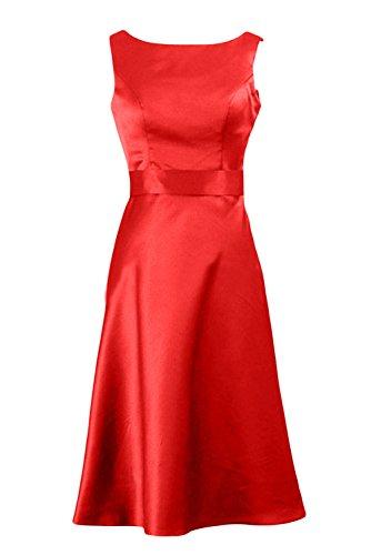 Gorgeous Bride Elegant Knielang U-Ausschnitt Etui Satin Abendkleid Partykleid Ballkleid Rot