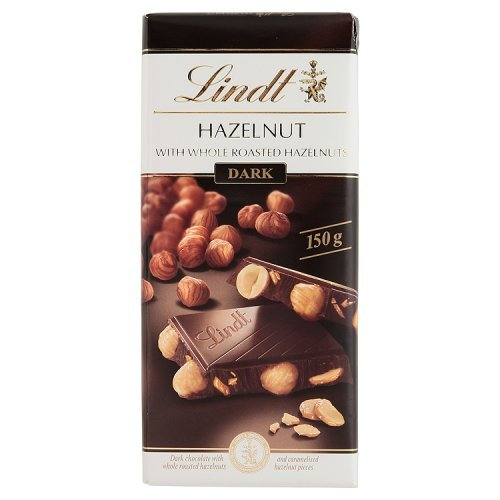 Lindt Dark Chocolate with Whole Roasted Hazelnuts, 150g