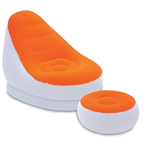 Luftsessel 122x94x81 cm mit Fußhocker Orange • Luftsessel aufblasbarer Lounge Sessel Sitzsack Camping Sofa Couch