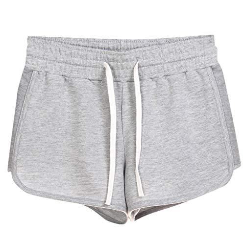 WOZOW Laufhose Shorts Kurze Hose Damen Sommer Solid Elastisch Elastic Kordelzug Zug Tie Riemchen Lose Loose Bequem Workout Gym Taschen Mid Waist Mini Trousers (2XL,Hellgrau) - Leder-low Rise Flare Jeans
