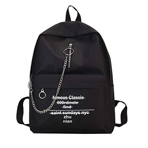 HNTHBZ Rucksack Frauen Brief Drucken Schulter Mode Trend Kette leinwand Rucksack super qualität rucksäcke FLZXSQC013 (Color : Black, Size : 29 * 37 * 14 cm) -