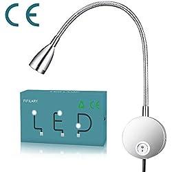 lampe de lecture,lampe à LED avec col de cygne en aluminium lampe Chevet Murale pour chambre bureau blanc chaud,100-200LM/4000K/3W/110-220V-LED,angle d'émission de lumière:30 °,longueur:28cm