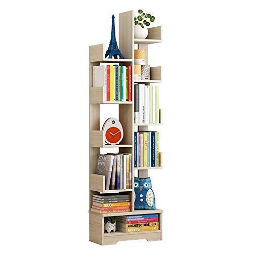 JJL Modernes dekoratives freistehendes Bücherregal mit 11 Regalen und offenem Regal, weiß -