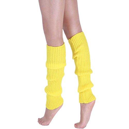 Vovotrade ❤❤ Neue Art- und Weisefrauen-warme Winter-klassische Bein-Wärmer-strickende Socken (Gelb) (Bunte Stulpen)