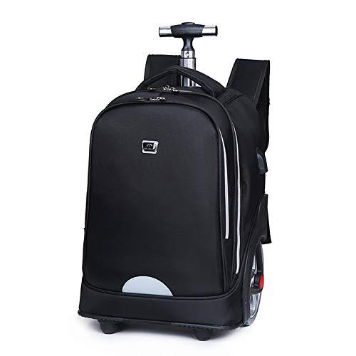 F-JX Reise-Laptop-Rucksack mit tragbarem Rad, Professioneller Business-Rucksack mit USB-Ladeanschluss, Großraumgepäck-Tagesrucksack für Reisen/Hochschule/Arbeiten,Black