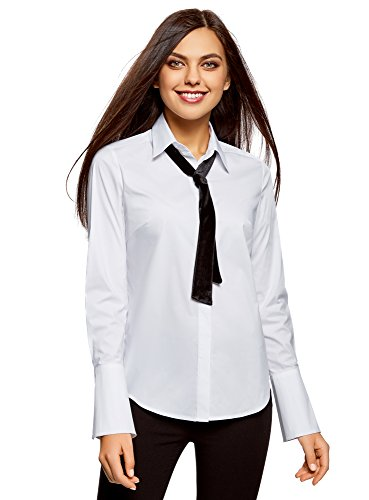oodji Ultra Damen Hemd mit Ausgestellten Manschetten und Zierbindebändern, Weiß, DE 40 / EU 42 / L