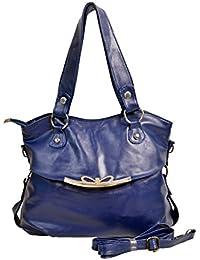 Bagris Dazzling Blue Leather Hand Messenger Bag For Women & Girls GE01001613