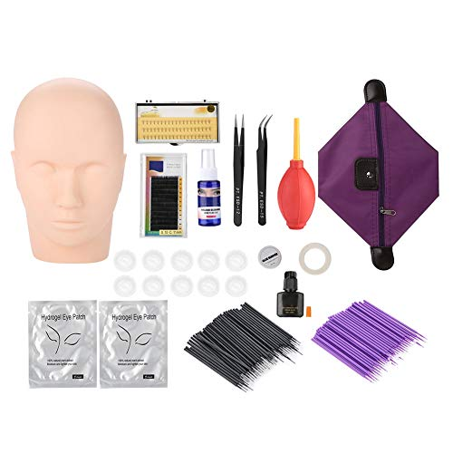 Extension Kit, Multifunctional Soft Silicone Makeup Mannequin Head Model Practice Extension Tool Makeup Eyelash Grafting Training Tool Kit for Makeup Practice Eye Lashes ()