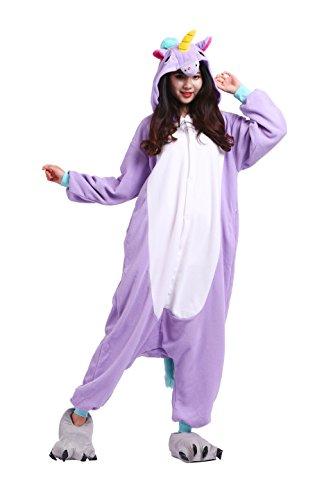 einhorn kigurumi YUWELL Einhorn Pyjamas Kostüm Jumpsuit Tier Schlafanzug Erwachsene Unisex Fasching Cosplay Karneval Unicorn, lila Einhorn S (Height:150-160cm)