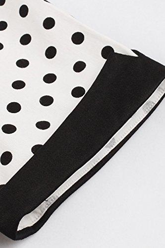 MisShow Damen Vintage 1950s Kurzarm Abendkleid Rockabilly Swing Kleid Polka Dots Petticoat Kleid Weiß 3XL - 6