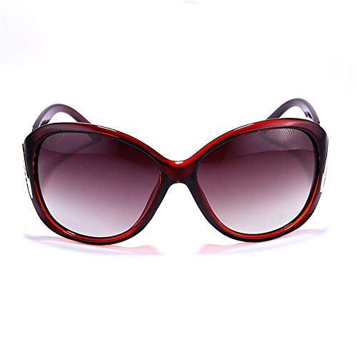 HSHUO Damen Sonnenbrille Sonnenschirm weiblich Fahrsicherheit UV400@Rot