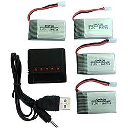 Batterie et Chargeur,Covermason 4PC 3.7V 650mAh Batterie Officielle + 5 en 1 Chargeur pour Syma X5A X5C Quadcopter