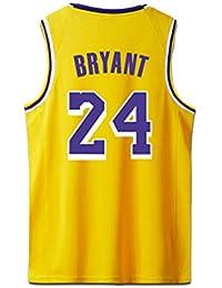 Bryant Kobe Camisetas de Baloncesto Camisa Los Angeles Lakers para Hombre # 24 Amarillo Negro Púrpura