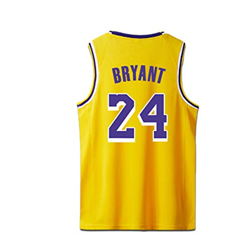 Bryant Kobe Basketball Trikots Los Angeles Lakers Shirt der Männer # 24 Gelb Schwarz Lila,Jersey-Yellow,S