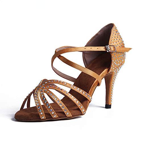 Syrads Zapatos de Baile Latino para Mujer Salsa Tango Moderna Bachata con Pedrería Vals Zapatos de Baile de Salón Suela Blanda S1056