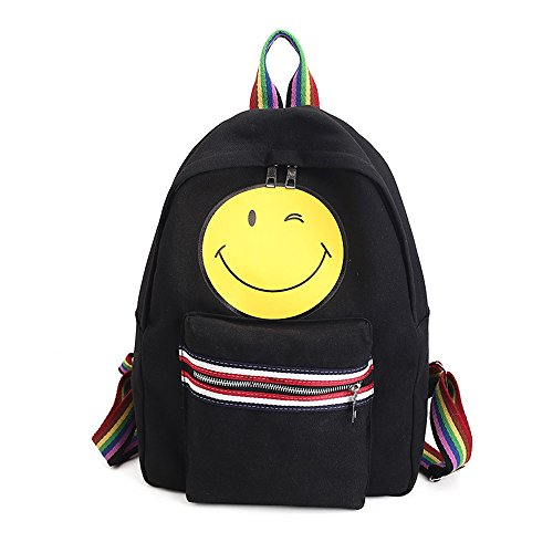 BackpackRucksack-Durable-Handy-Daypack-for-Travel-Outdoor-SportsTUDUZ-Women-Emoji-Canvas-Leisure-Package-Single-Shoulder-Bag-Smiling-Face-Schoolbag