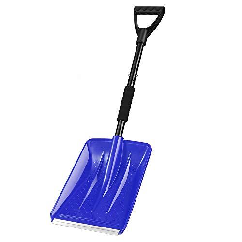 Schneeschaufel, IPSXP Mit Edelstahlstange und 10,6-Zoll-Breitmesserschaufel mit Aluminiumkante, ideal für Einfahrten, Camping und Notfälle im Freien (Blau)