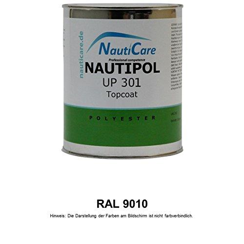 NautiCare NautiPol UP 301 Topcoat 850 g - 35 RAL Farben zur Auswahl - Styrolfreies Polyesterharz (Polyester Harz, ohne MEKP Härter) (RAL 9010 Reinweiß)