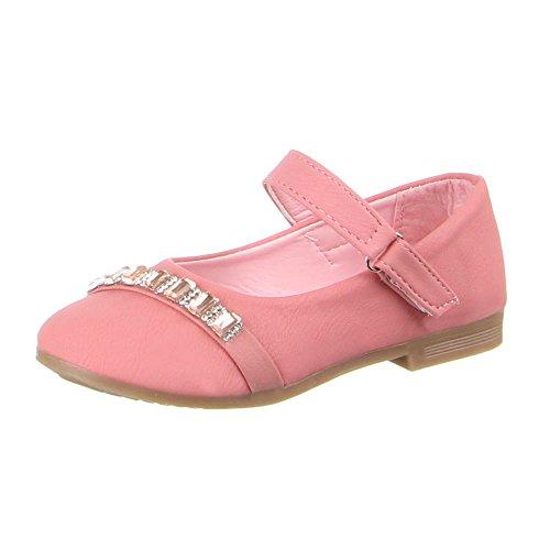Kinderschuhe Ballerinas Mädchen Strass Deko Halbschuhe Schwarz Pink Rosa 25 26 27 28 29 30 Pink