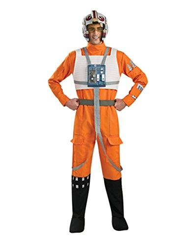 Erwachsene Pilot Xwing Kostüme (Star Wars Kostüm, Herren X-Wing Pilot-Outfit, Standard, Brust 111,8cm Taille 76,2–86,4cm Hosenlänge)
