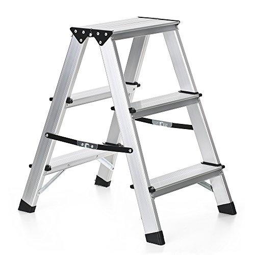 iKayaa 2 Stufen Haushaltsleiter Klappleiter Alu Leiter Stehleiter Trittleiter aus Aluminium Anti-Rutsch Klappbar