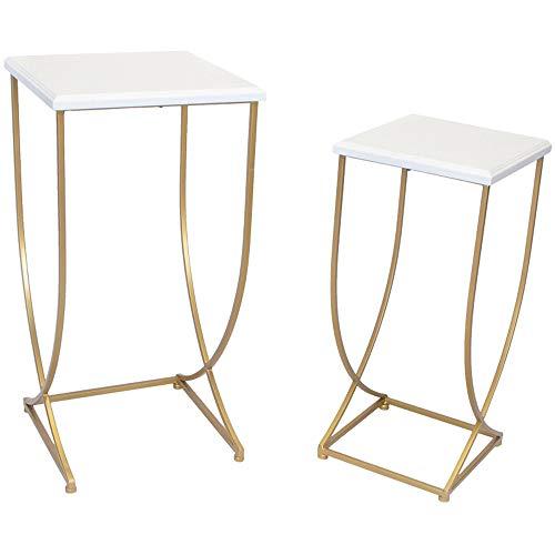FEI Table basse de table d'appoint de table d'appoint latérale de table de nuit (Couleur : Blanc, taille : 30 * 30 * 63cm+36 * 36 * 74cm)