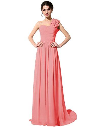 Sarahbridal Damen Ein-Schulter Abendkleid Brautjungfernkleid Lang Ballkleid Festkleid SSD126 Koralle...