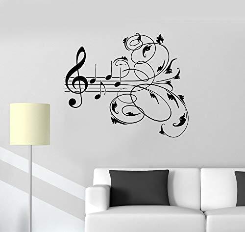 TYLPK Einfache Abnehmbare Dekoration Vinyl Wandtattoos Musik Muster Musikalische Raumdekoration Aufkleber Kunstwand YY142 51x42 cm