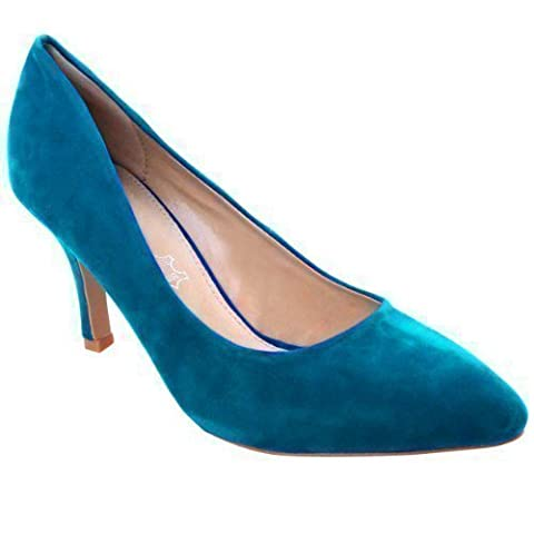 WOMENS LADIES LOW MID HIGH KITTEN HEEL PUMPS POINTED TOE WORK COURT SHOES SIZE (UK 7 / EU 40 / US 9, Teal Blue
