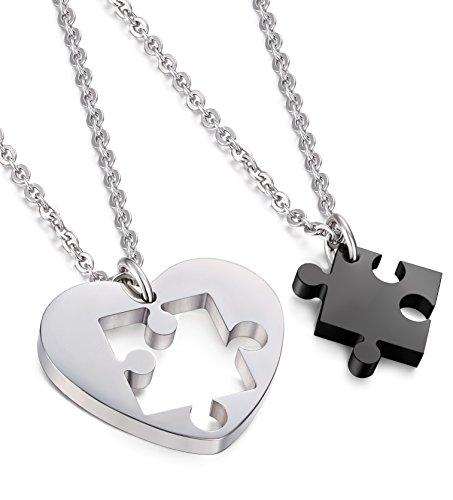 *Jstyle Schmuck verliebte Paare Anhänger Halskette Puzzleanhänger Herz Form Freundschaft Anhänger Kette für Liebe Herren Damen*