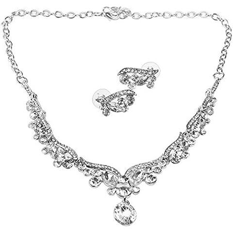 VORCOOL Orecchini collana strass nozze - stile floreale (argento) - Strass Floreali Collana Orecchini