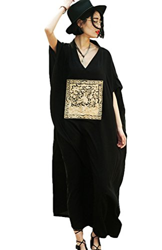 Vogstyle Donna Robes Lunga Casuale Gonna Maxi Nero