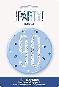 Unique Party 83526 - Insignia de cumpleaños, color azul y plateado