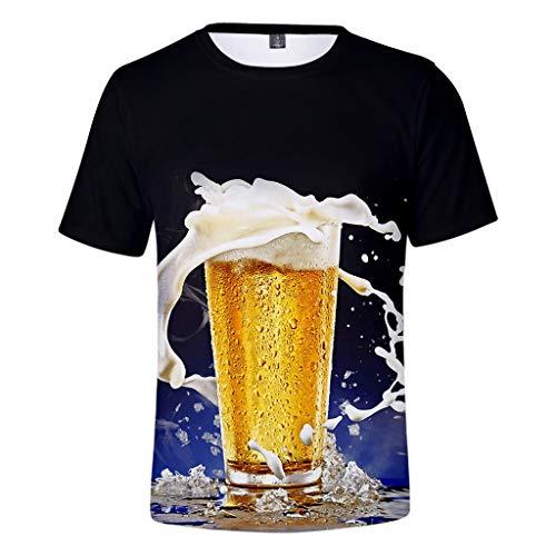Yvelands Damen 3-D Beer Festival Printing Rundhals Kurzarm T-Shirt Tops(Blau,L)