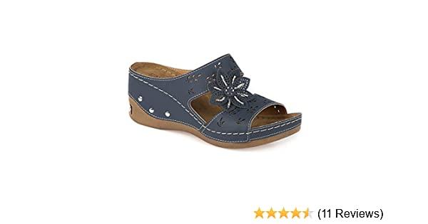 ea39a56342d Pavers Anatomic Wedge Mule with Beaded Flower 304 610 - Navy Size 9   Amazon.co.uk  Shoes   Bags