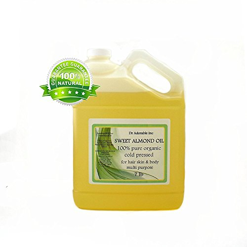 Sweet Almond Oil Organic Pure Cold Pressed by Dr.Adorable 128 Fl. Oz/1 Gallon/7 Lb